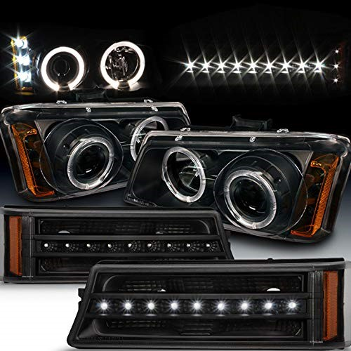 Xtune For 2003 2006 Chevy Silverado 2005 Avalanche Black Halo Projector Headlights Led Strip Per Lights 2004